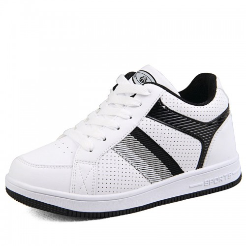2014 summer breathable elevator skateboard shoes add height 6.5cm / 2.56inches white/black casual sports shoes