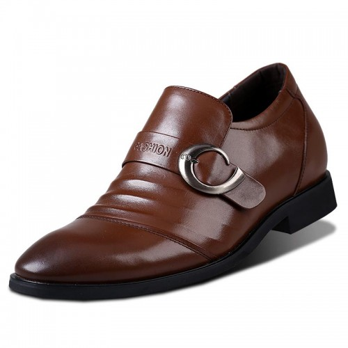Korean elevator dress shoes add taller 7cm / 2.75inches men height increasing business shoes