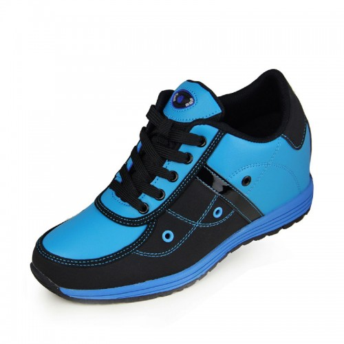 Blue lightweight elevator running shoes can be height 6.5cm / 2.56 inches skate board shoes