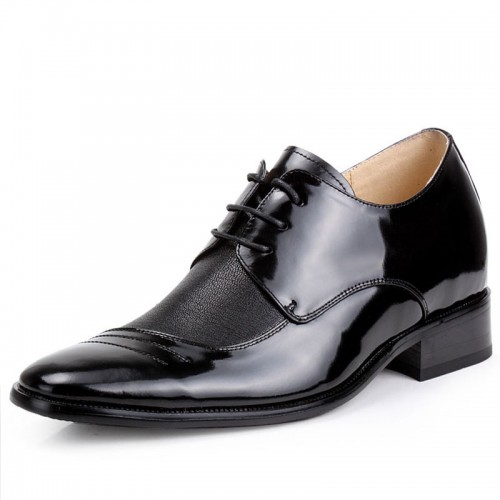 Korean Elegant wingtip elevator dress shoes make tall 6cm / 2.36inches Hairlike Pattern height shoes