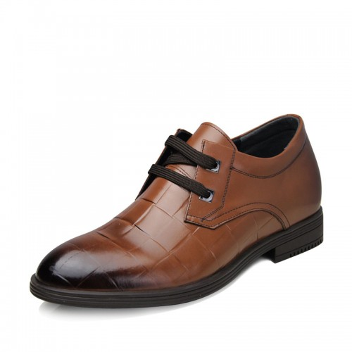2014 new British business elevator shoes add height 7cm / 2.75inches Brown tall men dress shoes