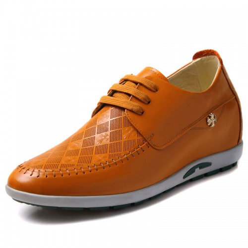 Elevator fashion leisure shoes make men tall 6cm / 2.36inches yellow  leather height casual shoes