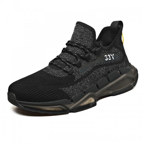 Reflective Elevator Running Shoes for Men Add Taller 2.4 inch / 6 cm Black Mesh Night Running Shoes