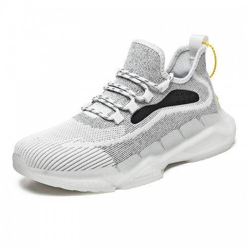 Reflective Hidden Taller Running Shoes for Men Increase 2.4 inch / 6 cm White Mesh Night Running Shoes