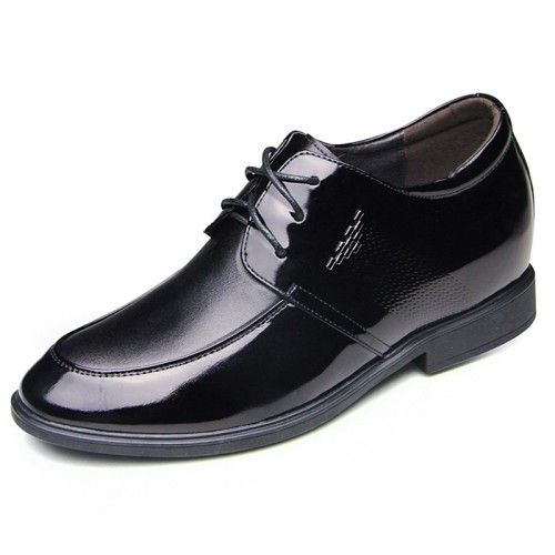 Black glossy wedding shoes height gain 6.5cm / 2.56inch taller dress shoes