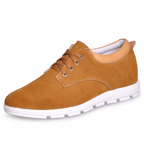 UK Yellow heel height shoes men casual sneaker shoe increase taller 6cm / 2.36inches