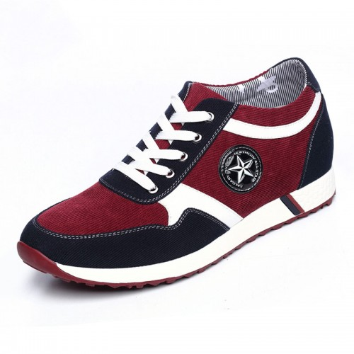 Breathable lace up heel lift casual shoes 6cm / 2.36inch red casual elevator shoes