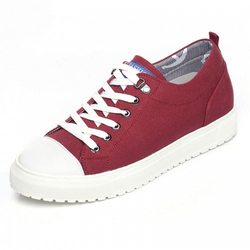 Clearance Korean height inceasing canvas shoes add taller 6cm / 2.36inch red lace up sneakers