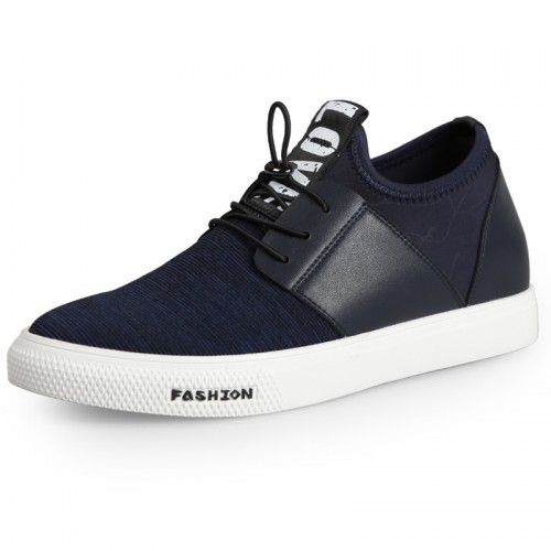 Quality lace up height canvas casual shoes 2.6inch / 6.5cm Blue