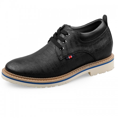 Faux Leather Cloth Elevator Casual Shoes for men hidden heel fabric shoes