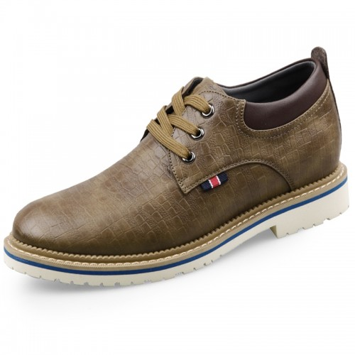 Khaki Faux Leather Cloth Elevator Casual Shoes 2.6inch / 6.5cm Height Increasing Fabric Shoes