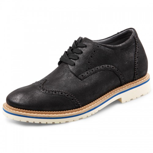 Elevator Brogue Casual Shoes for men  Increase Height 2.6inch / 6.5cm Faux Suede shoes