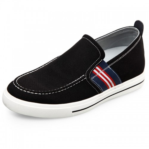 2017 Fashion comfortable elevator loafers 2.4inch / 6cm black taller slip on sneakers