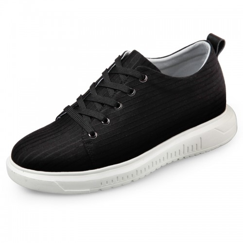 Ultralight Elastic Fabric Sneakers Height Increase 2.6inch / 6.5cm Black Lace up Sports shoes