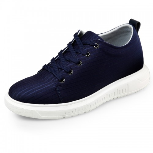 Ultralight Elastic Fabric Sneakers Height Taller 2.6inch / 6.5cm Blue  Lace up Sports shoes