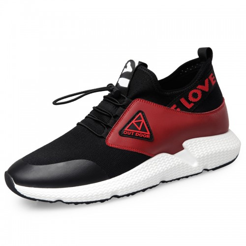 Ins Elevator Men Shoes Taller 2.6inch / 6.5cm Black-red Slip On Cap Toe Casual Sneakers
