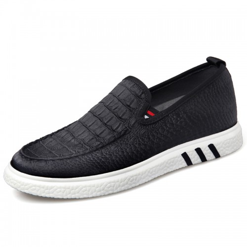 Crocodile Pattern Taller Canvas Shoes for Men Height 2.2inch / 5.5cm Ultralight Slip On Elevator Driving Shoes