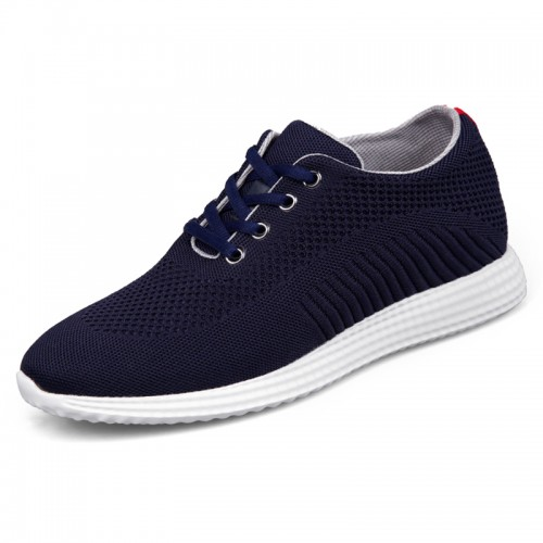 Men Elevator Flyknit Trainer Shoes Height 6.5cm / 2.6inch  Navy Hidden Heel Racer Shoes