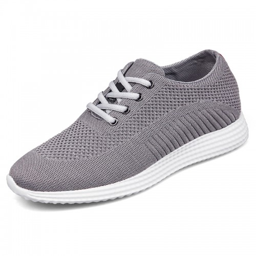 Elevator Flyknit Trainer Shoes for Men Taller 6.5cm / 2.6inch Grey Hidden Racer Shoes