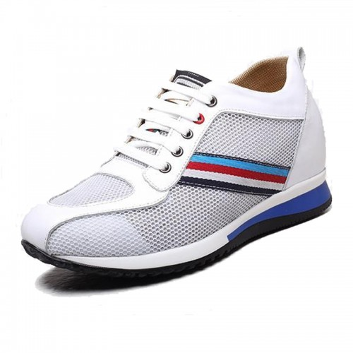 Breathable white mesh elevator sneakers make you look taller 8cm / 3.15inch sport shoes