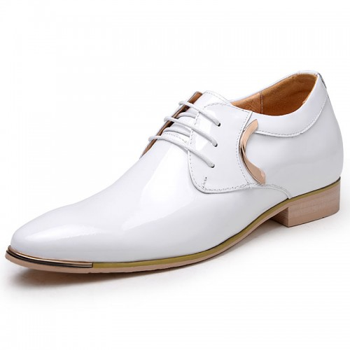 White burnished leather wedding shoes higher increase 6.5cm / 2.56inch Britpop taller derby shoes