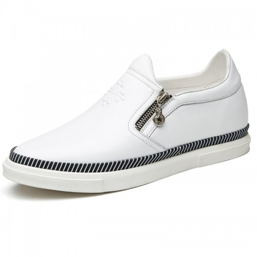 White calfskin side zip slip on height casual loafers 2.4inch / 6cm