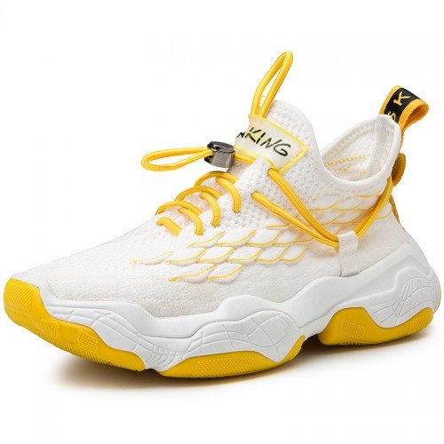 White Men Flyknit Trail Walking Hidden Taller Shoes Non Sip Fashion Sneakers Add Height 2.8 inch / 7 cm