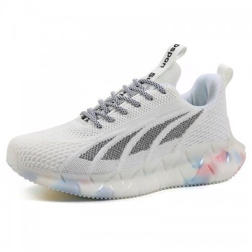 Height Elevator Fitness Jogging Shoes White Lace Up Lift Flyknit Trainers Increase 2.4 inch / 6 cm