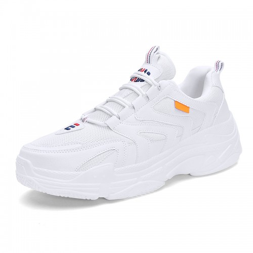 INS Fashion Elevator Dad Shoes White Mesh Height Clunky Sneakers Add Taller 2.8inch / 7cm