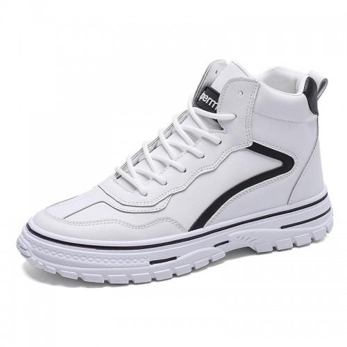 White Trendy Hidden Height Skateboarding Shoes Men High Top Elevator Sneakers Increase 2.8inch / 7cm