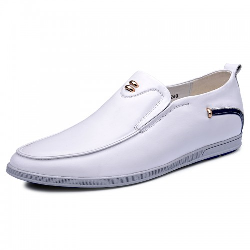 Trendy height slip on driving shoes get tall loafers 2.4inch / 6cm White