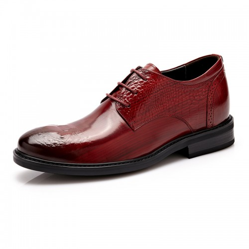 Fashion height business shoes 6cm / 2.36inch wine red hidden heel derbies