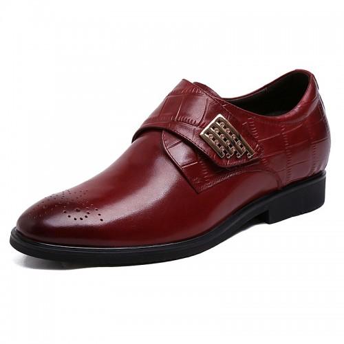 Novelty elevator sharp wedding shoes 6cm / 2.36inch wine red monk strap brogue dress loafer