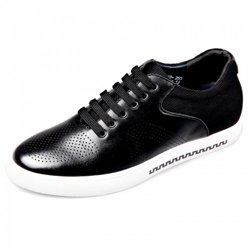 Black Calfskin Elevator Skateboarding Shoes for men taller 2.4inch / 6cm
