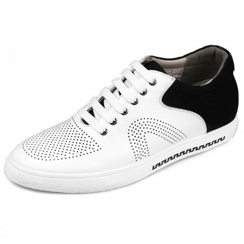Perforated Elevator Casual Shoes for men taller 2.4inch height skate shoes