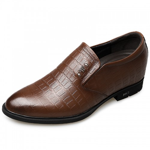 Brown Slip On Elevated Dress Shoes for men