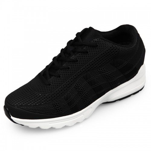 Men Hidden Taller Sneakers Black Mesh Elevator Running Shoes Height 2.6inch / 6.5cm