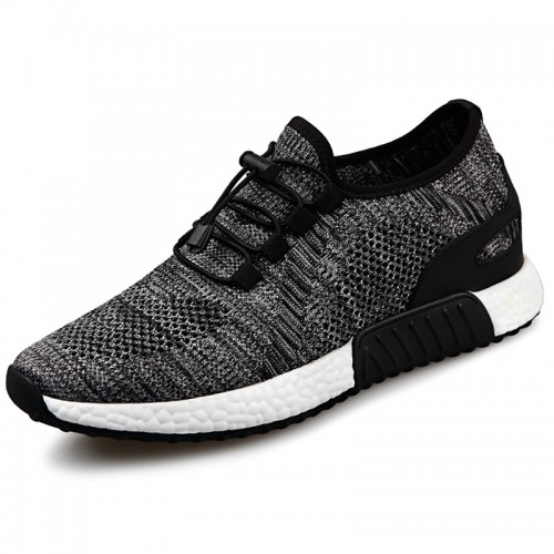 Hidden Lift Men Running Shoes increase height 2.4inch slip on fashion sneakers