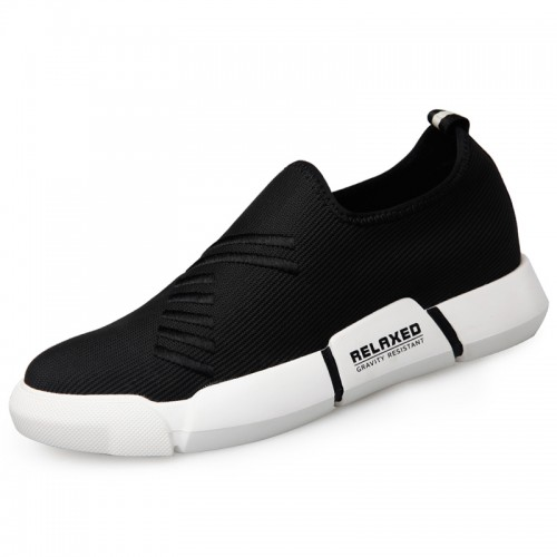 Relaxed Elevator Fabric Shoes for Men Add Taller 2.2inch / 5.5cm Ultralight Slip On Running Shoes