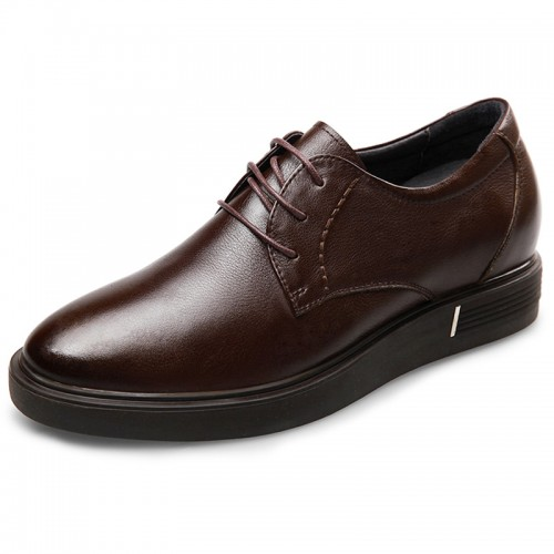 Height Increasing Men Casual Flat Shoes Brown Soft Calfskin Leather Taller Shoes