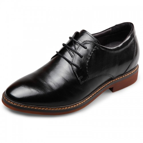 Men Elevator Casual Dress Shoes taller 2.6inch / 6.5cm black office shoes