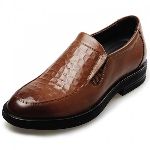Hidden Heel Wedding loafer Shoe for groom taller 2.4inch slio on dress loafer