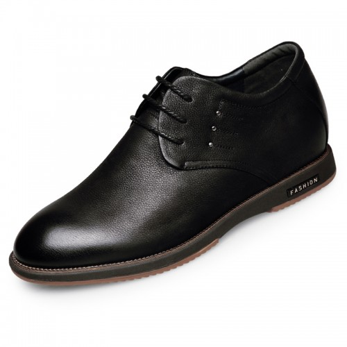 Quality Nubuck Elevator Shoes Taller 2.4inch / 6cm Black Height Increasing Business Casual Shoes