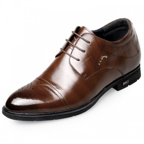 Brown brogue Perforated Cap Toe Elevator Dress Shoes for men taller  2.6inch