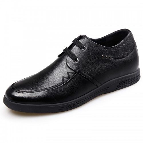 Casual Business Elevator Shoes for Men Increase Height 2.2inch / 5.5cm Lace Up Soft Cowhide Oxfords