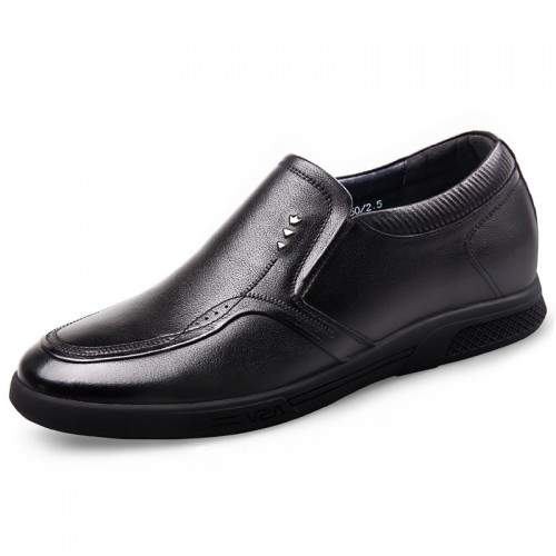 Comfortable Slip On Elevator Shoes Taller 2.2inch / 5.5cm Black Genuine Leather Driving Shoes