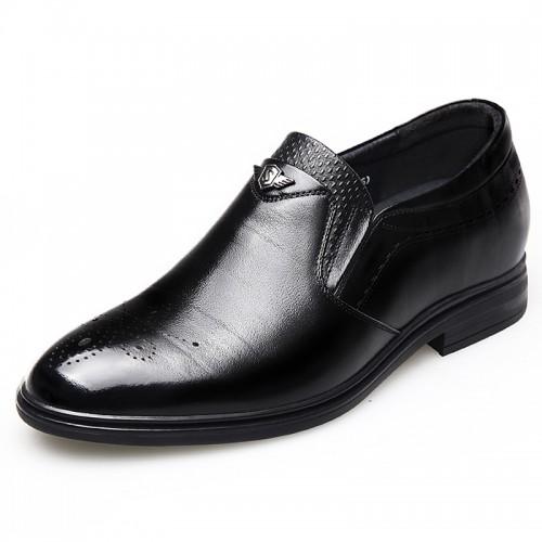Wing Tip Elevator Shoes Black Slip On Brogue Formal Oxfords Increase 2.6inch / 6.5cm