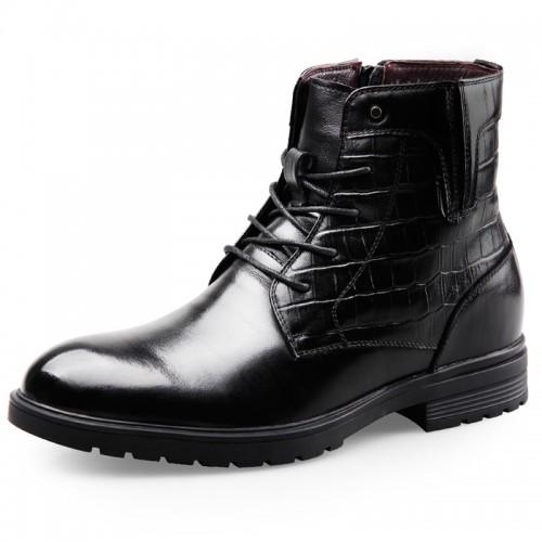 Height Increasing Motorcycle Boot Tall 2.6inch / 6.5cm Side Zip Combat Boots Woolen Men Elevator Dress Boot