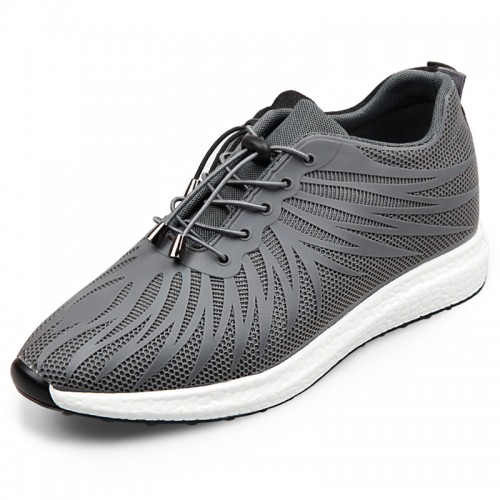 Ultralight Elevator Fabric Shoes Taller 2.4inch / 6cm Grey Casual Sneakers Walking Shoes