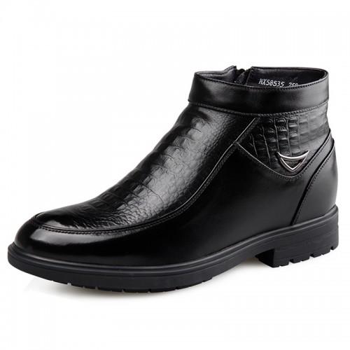 Side Zip Elevator Dress Boots for Men Taller 6.5cm / 2.56inch Croc Print Woolen Chukka Boot